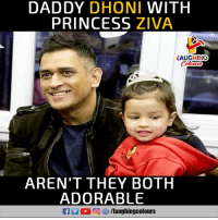Princess, Indianpeoplefacebook, and Adorable: DADDY DHONI WITH  PRINCESS ZIVA  LAUGHING  Celcurs  AREN'T THEY BOTH  ADORABLE