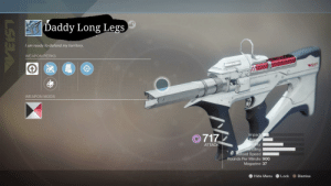 Destiny, Budget, and Speed: |Daddy Long Legs  I am ready to defend my territory.  WEAPON PERKS  WEIS  WEAPON MODS  717  Impact  Range  Stability  andling  Reload Speed  ATTACK  Rounds Per Minute 900  Magazine 37  L3 Hide Menu  Lock  Dismiss  LSIS Introducing the budget Recluse, Daddy Long Legs! Perfect for pve players like me who cant make Fabled: