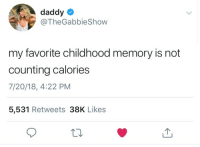 Tumblr, Blog, and Com: daddyo  @TheGabbieShow  my favorite childhood memory is not  counting calories  7/20/18, 4:22 PM  5,531 Retweets 38K Likes codename-fatass:  Same