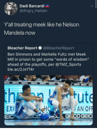 "Blackpeopletwitter, Meek Mill, and Nelson Mandela: Dadi Barcardi  @Angr  Y'all treating meek like he Nelson  Mandela now  Bleacher Report·@BleacherReport  Ben Simmons and Markelle Fultz met Meek  Mill in prison to get some ""words of wisdom""  ahead of the playoffs, per @TMZ_Sports  ble.ac/2Js1T4r  AMSUN  EEX  EICRO 4C  HO AN OF <p>Out of the night that covers me&hellip; (via /r/BlackPeopleTwitter)</p>"