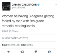 Blackpeopletwitter, Funny, and Lmao: DADITO CALDERONE  @TAXSTONE  Women be having 3 degrees getting  fooled by men with 8th grade  remedial reading levels  1/9/17, 10:35 AM  VIEW TWEET ACTIVITY  1,679 RETWEETS 1,324 LIKES  13 Back to school y'all go #meme #funny #blackpeopletwitter #lmao