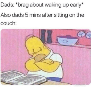Waking Up Early: Dads: *brag about waking up early*  Also dads 5 mins after sitting on the  couch: