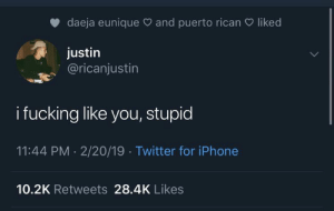 : daeja eunique and puerto rican  liked  justin  @ricanjustin  i fucking like you, stupid  11:44 PM 2/20/19 Twitter for iPhone  10.2K Retweets 28.4K Likes