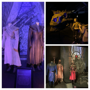 My cousin and I at the Game of Thrones exhibition, Belfast: DAENERYS TARGARYEN  Cosueworby Osenerys  ar inason 7 Der  cosune dsplays the tradtionl  argryen celours of biack and  red White cot wom by Daenerys  Tgaryen (Emiia Clarke) when she  brings her dagons north of the Wal  to save Jon Snow and his company  From the Arroy of the Dead My cousin and I at the Game of Thrones exhibition, Belfast