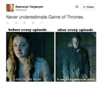 Game of Thrones, Memes, and Daenerys Targaryen: Daenerys Targaryen  Follow  GDaenerys  Never underestimate Game of Thrones.  after every episode  before every episode  it can can always be worse.  it can't be any worse. 💔