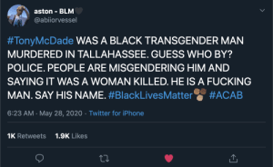 dafunk:  cops in tallahassee florida shot and murdered tony mcdade. virtually no media coverage and he is being misgendered. acab.: dafunk:  cops in tallahassee florida shot and murdered tony mcdade. virtually no media coverage and he is being misgendered. acab.