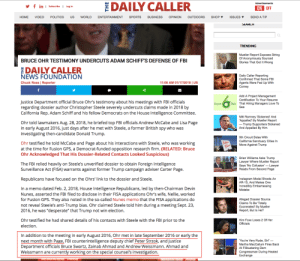 NOTHING TO SEE HERE - Bruce Ohr briefed not only Page & Strzok on the dossier but 2 others including Andrew Weissman & Zainab Ahmad who would go on to serve on Mueller's Special Counsel . Hmmm funny that considering Page & Strzok were also on the Special Counsel before their texts came out .: DAILY CALLER  in I Subscribe I Log in  ON OFF  HOME VIDEO POLITICS US WORLD ENTERTAINMENT SPORTS BUSINESS OPINION OUTDOORS SHOP ▼ ISSUES ▼ SEND A TIP  0  TRENDING  Mueller Report Exposes String  Of Anonymously Sourced  Stories That Got It Wrong  BRUCE OHR TESTIMONY UNDERCUTS ADAM SCHIFF'S DEFENSE OF FBI  DAILY CALLER  Daily Caller Reporting  Confirmed That Some FBI  Agents Were Fed Up With  Comey  NEWS FOUNDATION  Chuck Ross | Reporter  11:06 AM 01/17/2019 | US  Add A Project Management  Certification To Your Resume  That Hiring Managers Love To  Justice Department official Bruce Ohrs testimony about his meetings with FBI officials  regarding dossier author Christopher Steele severely undercuts claims made in 2018 by  California Rep. Adam Schiff and his fellow Democrats on the House Intelligence Committee  Belt  Mitt Romney 'Sickened' And  Appalled' By Mueller Report  Ohr told lawmakers Aug. 28, 2018, he briefed top FBI officials Andrew McCabe and Lisa Page  in early August 2016, just days after he met with Steele, a former British spy who was  investigating then-candidate Donald Trump  Trump Supporters Sickened  And Appalled By Him  9th Circuit Sides With  California Sanctuary Cities In  Move Against Trump  Ohr testified he told McCabe and Page about his interactions with Steele, who was working  at the time for Fusion GPS, a Democrat-funded opposition research firm. (RELATED: Bruce  Ohr Acknowledged That His Dossier-Related Contacts Looked Suspicious)  Brian Williams Asks Trump  Lawyer Where Mueller Report  Says 'No Collusion-Lawyer  Reads From Second Page  The FBI relied heavily on Steele's unverified dossier to obtain Foreign Intelligence  Surveillance Act (FISA) warrants a