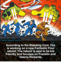 Yep. I can't wait to see Doctor Doom threaten the world by making a machine that steals all the ice cream in the world 🙄 - SN: Franklin and Valeria are the children of Reed and Sue. - fantasticfour fant4stic reedrichards suestorm johnnystorm bengrimm mrfantastic invisiblewoman humantorch thething franklinrichards valeriarichards galactus doctordoom moleman marvel marvelcomics marvelfacts dailygeekfacts: Daily Geek Facts  According to the Bleeding Cool, Fox  is working on a new Fantastic Four  reboot. The reboot is said to be kid  friendly and focuses on Franklin and  Valeria Richards Yep. I can't wait to see Doctor Doom threaten the world by making a machine that steals all the ice cream in the world 🙄 - SN: Franklin and Valeria are the children of Reed and Sue. - fantasticfour fant4stic reedrichards suestorm johnnystorm bengrimm mrfantastic invisiblewoman humantorch thething franklinrichards valeriarichards galactus doctordoom moleman marvel marvelcomics marvelfacts dailygeekfacts