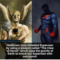 "Memes, 🤖, and Horus: Daily Geek Facts  Hawkman once defeated Superman  by using a weapon called ""The Claw  of Horus"" which uses the gravity of  Earth to knock out Superman with  one punch Hawkman and Hawkgirl are so underrated. I'd love to see them appear in the DCEU. superman clarkkent hawkman kingkhufu batman benaffleck justiceleague darkseid injustice injustice2 dc dccomics dcrebirth dcfacts dailygeekfacts"