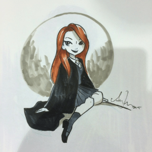Tumblr, Blog, and Http: daily-harrypotter-world:  Ginny Weasley by Amy Mebberson (in my HP sketchbook) done at PhxCC 2015…