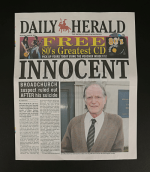 From broadchurch when I saw Walder Frey and Danny/Dany died, I knew it foreshadowed quite a bit of GOT. And well they had Olly too so that's the flair: DAILY HERALD  THE WORLD'S DAILY NEWSPAPER  40p  Wednesday, August 28, 2013  FREEO's  80's  ST  80's Greatest CD  SEE PAGE 50  FOR DETAILS  PICK UP YOURS TODAY USING THE VOUCHER INSIDE  INNOCENT  BROADCHURCH  spect ruled out  AFTER his  suicide hate Movie Callectrbles  BROADO  involvement in the case, and his own  death was a tragic suicide.Jack  Marshall was well known  By Adam Rowe  Ange  BROADCHURCH CID have  TH  confirmed that Jack Marshall throughout the town as the  has been completely ruled out  of their investigations into the  murder of Danny Latimer. three weeks ago, but investigations  They now believe Marshall  was innocent any involvement  in the case, and his own death  was a tragic suicide.  Jack Marshall was well known  throughout the town as the about his personal life, as opposed to  proprietor of Harbour News and also  as a Sea Brigade Leader. His body  was washed up on the town's beach  three weeks ago, but investigations  into Marshall's death revealed no  evidence of foul play. It is now  believed that Marshall took his own  life as a reaction to negative national  press coverage about his personal  life, as opposed to any involvement completely ruled out of their  he may have had in Danny's death  Broadchurch Police have issued Danny Latimer. They now believe  a statement, expressing their sadness  at the loss of Marshall's life, and  residents of Broadchurch have  spoken very warmly of Marshall.  Marshall's funeral takes place at St  Bede's this week.  Broadchurch CID have  confirmed that Jack Marshall has  proprietor of Harbour News and also  as a Sea Brigade Leader. His body  was washed up on the town's beach  BR  into Marshall's death revealed no  evidence of foul play  It is now believed that Marshall  took his own life as a reaction to  Toesday&  negative national press coverage  any invol