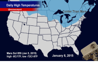 "Chill, Target, and Tumblr: Daily High Temperatures  @marswxreport  Colder Than Mars  Mars Sol 859 (Jan 5, 2015)  high -8C/17F, low -72CI-97F  January 8, 20157 <p><a class=""tumblr_blog"" href=""http://canadian-space-agency.tumblr.com/post/107545418112/it-is-currently-colder-in-canada-and-in-the"" target=""_blank"">canadian-space-agency</a>:</p> <blockquote> <p>It is currently colder in Canada and in the northern US than on Mars!</p> <p>Thanks to the polar vortex, <span>it felt like -35 degrees Celsius with the wind chill at our headquarters near Montreal, Quebec this morning (January 8th, 2014). That's colder than </span>where Mars Curiosity is roving in the Red Planet's Gale Crater! </p> <p>Source: CSA</p> </blockquote>"