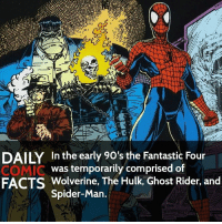 Who is your favorite Fantastic Four member? • marvel marvelcomics comics marvelheroes marvelvillains hero heroes villains villain avengers avengersassemble marvelstudios marvelmovies marvelfacts marvelcomicfacts dailyfacts comicfacts comic mcu dailycomicfacts: DAILY In the early 90's the Fantastic Four  was temporarily comprised of  COMIC  FACTS Wolverine, The Hulk, Ghost Rider, and  Spider-Man Who is your favorite Fantastic Four member? • marvel marvelcomics comics marvelheroes marvelvillains hero heroes villains villain avengers avengersassemble marvelstudios marvelmovies marvelfacts marvelcomicfacts dailyfacts comicfacts comic mcu dailycomicfacts