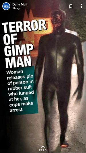 Gimp, Daily Mail, and Mail: Daily Mail  1h ago  Dally  Mail  TERROR  OF  GIMP  MAN  Woman  releases pic  of person in  rubber suit  who lungedt  at her, as  cops make  arrest  READ beware the man of gimp