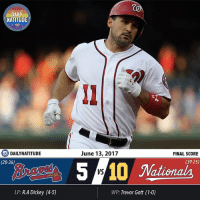 CURLYW!!! The losing streak is over as the Nationals crush the Braves 10-5 on a beautiful Night OUT at the ballpark! It sure is nice to be on the winning side again, and we have Ryan Zimmerman to thank for that. The MVP frontrunner returned to the Nationals lineup in style and made up for lost time by hitting TWO home runs - a solo-shot in his first at-bat and a two-run homer in the sixth inning. He finished the day 3 for 4, raising his batting average to .372 and home run total to 19 - second best in baseball behind Aaron Judge, who has 22. With his two home runs tonight, Zimmerman ties Vladimir Guerrero as the Nationals-Expos franchise all-time home run leader (234) and is only three shy of breaking the Washington baseball record set by Senators legend Frank Howard. What we're witnessing from the face of the franchise is incredible, and he's now on pace to finish the season hitting above .350 with 48 HR and 132 RBI. So happy to see him have this kind of success. While Zimmerman was certainly the MVP again today, the Nationals got contributions from all around the lineup, as every batter reached base. Daniel Murphy collected three hits, and smacked a solo home run right after Zimmerman in the first inning. He's now hitting .345 with 11 HR and 43 RBI, on pace to finish just like last year. Over the last two games, the Nationals have scored 20 runs, and have looked much better from the batters box after getting swept by the Rangers. Even though Joe Ross gave up five runs and only lasted 5 2-3 innings, the increased offensive production and a solid night for the bullpen made this win possible. A combination of Trevor Gott, Enny Romero, Shawn Kelley, and Oliver Perez finished with a line of 3.1 IP, 4 H, 0 ER, 1 BB, 4 SO. Kelley gave up two straight singles in the ninth inning before being saved by Perez, but besides that, the bullpen got the job done for the first time in three days. Well done. Time to win the series tomorrow! Natitude NatsNightOut: DAILY  NATITUDE  DA