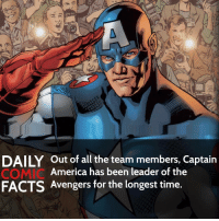 Memes, 🤖, and Avenger: DAILY out of all the team members, Captain  America has been leader of the  FACTS Avengers for the longest time Who is your favorite Avenger? • Follow my other account @wallcrawlerfacts