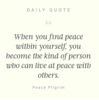 Daily Quote When You Find Peace Within Yourself You Become The Kind