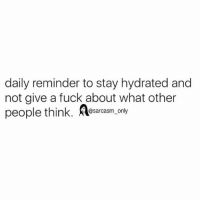 SarcasmOnly: daily reminder to stay hydrated and  not give a fuck about what other  eople think, srcasm only SarcasmOnly