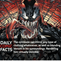 Spider-Man homecoming trailer 2 is out tomorrow! Who's hyped?! • marvel marvelcomics comics marvelheroes marvelvillains hero heroes villains villain avengers avengersassemble marvelstudios marvelmovies marvelfacts marvelcomicfacts dailyfacts comicfacts comic mcu dailycomicfacts: DAILY The symbiote can mimic any type of  COMIC clothing whatsoever, as well as blending  FACTS Venom in his surroundings. Rendering  him virtually invisible. Spider-Man homecoming trailer 2 is out tomorrow! Who's hyped?! • marvel marvelcomics comics marvelheroes marvelvillains hero heroes villains villain avengers avengersassemble marvelstudios marvelmovies marvelfacts marvelcomicfacts dailyfacts comicfacts comic mcu dailycomicfacts
