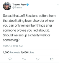 Blackpeopletwitter, Run, and Brain: DAILY  Travon Free  Travon  So sad that Jeff Sessions suffers from  that debilitating brain disorder where  you can only remember things after  someone proves you lied about it  Should we set up a charity walk or  something?  11/14/17, 11:05 AM  1,500 Retweets 5,456 Likes <p>I'd run a 5kkk (via /r/BlackPeopleTwitter)</p>
