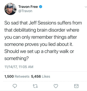 Run, Brain, and Free: DAILY  Travon Free  Travon  So sad that Jeff Sessions suffers from  that debilitating brain disorder where  you can only remember things after  someone proves you lied about it  Should we set up a charity walk or  something?  11/14/17, 11:05 AM  1,500 Retweets 5,456 Likes I'd run a 5kkk