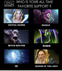 Memes, 🤖, and Dota: DAILY  WHO IS YOUR ALL TIME  L eSports  DAILIESPORTS.TV  FAVORITE SUPPORT 2  DAZZLE  CRYSTAL MAIDEN  WITCH DOCTOR  RUBIK  IO  KEEPER OF THE LIGHT Support favorit lo apa nih sob?? :D @dota_id dagelangaming gamers gaming