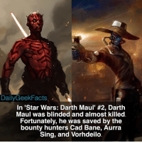 "Memes, 🤖, and Darth Maul: DailyGeek Facts  In ""Star Wars: Darth Maul' #2, Darth  Maul was blinded and almost killed  Fortunately, he was saved by the  bounty hunters Cad Bane, Aurra  Sing, and Vorhdeilo 🚨SPOILER WARNING🚨 For those of you who haven't read this comic and do not want to be spoiled. darthmaul cadbane aurrasing vorhdeilo darthvader darthsidious darkside bountyhunter sith starwars starwarsdarthmaul starwarsfacts dailygeekfacts"