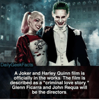 "Batman, Joker, and Love: DailyGeekFacts  A Joker and Harley Quinn film is  officially in the works. The film is  described as a ""criminal love story.""  Glenn Ficarra and John Requa will  be the directors So Warner Bros. have the rights to Martian Manhunter, Swamp-Thing, Hawkman and Hawkgirl, etc. and they decide to make this? And also why don't we have a director for the Flashpoint film yet? Smh. _ joker harleyquinn thejoker jaredleto margotrobbie jokerandharleyquinn batman nightwing batgirl dc dceu dccomics dcfacts dailygeekfacts"