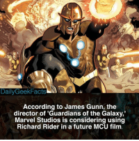 This should be interesting 🤔 _ This was confirmed by James Gunn on a Facebook Live video. _ richardrider nova starlord peterquill novacorps guardiansofthegalaxy gamora drax rocketraccoon groot infinitywar marvel mcu marvelcomics marvelfacts dailygeekfacts: DailyGeekFacts  According to James Gunn, the  director of 'Guardians of the Galaxy,  Marvel Studios is considering using  Richard Rider in a future MCU film This should be interesting 🤔 _ This was confirmed by James Gunn on a Facebook Live video. _ richardrider nova starlord peterquill novacorps guardiansofthegalaxy gamora drax rocketraccoon groot infinitywar marvel mcu marvelcomics marvelfacts dailygeekfacts