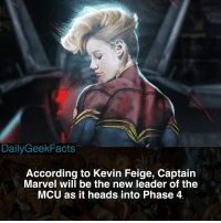Memes, Hulk, and Avengers: DailyGeekFacts  According to Kevin Feige, Captain  Marvel will be the new leader of the  MCU as it heads into Phase 4 Super hyped for her solo movie 🔥 _ captainmarvel caroldanvers nickfury skrulls brielarson ironman captainamerica thor hulk blackwidow hawkeye spiderman blackpanther doctorstrange avengers avengersinfinitywar infinitywar marvel marvelcomics mcu marvelfacts dailygeekfacts