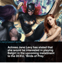 Batman, Memes, and Birds: DailyGeekFacts  ActresS Jane Levy has stated that  she would be interested in playing  Batgirl in the upcoming installment  to the DCEU, 'Birds of Prey.' I can see it. What are your thoughts? 🤔 _ batgirl barbragordon blackcanary huntress harleyquinn poisonivy catwoman birdsofprey gothamgirls batman robin nightwing batwoman thejoker dc dceu dccomics dcfacts dailygeekfacts