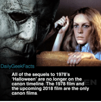 'Halloween' is my favorite horror film and one of my favorite films of all time. Definitely looking forward to the sequel's release this October 👍 _ michaelmyers lauriestrode jamieleecurtis halloween batman spiderman marvel dc dccomics marvelcomics dailygeekfacts: DailyGeekFacts  All of the sequels to 1978's  'Halloween' are no longer on the  canon timeline. The 1978 film and  the upcoming 2018 film are the only  canon films. 'Halloween' is my favorite horror film and one of my favorite films of all time. Definitely looking forward to the sequel's release this October 👍 _ michaelmyers lauriestrode jamieleecurtis halloween batman spiderman marvel dc dccomics marvelcomics dailygeekfacts