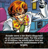 Marvel's Joker, anyone? _ arcade arcademarvel murderworld spiderman captainbritain captainamerica thor ironman hulk marvel marvelcomics marvelfacts dailygeekfacts: DailyGeekFacts  Arcade owns a lair that's disguised  as an amusement park. For the price  of $1million, he would tailor this lair  to exploit specific weaknesses of his  targets Marvel's Joker, anyone? _ arcade arcademarvel murderworld spiderman captainbritain captainamerica thor ironman hulk marvel marvelcomics marvelfacts dailygeekfacts