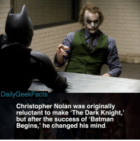 "Bane, Batman, and Memes: DailyGeekFacts  Christopher Nolan was originally  reluctant to make 'The Dark Knight,""  but after the success of 'Batman  Begins,' he changed his mind Money talks 🤑💸 _ batman brucewayne thejoker rasalghul catwoman bane batmanbegins thedarkknight thedarkknightrises christophernolan dc dccomics dcfacts dailygeekfacts"
