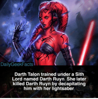 Dailygeekfacts Darth Talon Trained Under A Sith Lord Named Darth