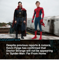 Doctor, Memes, and Spider: DailyGeekFacts  Despite previous reports & rumors,  Kevin Feige has confirmed that  Doctor Strange will not be appearing  in 'Spider-Man: Far From Home I can't be the only one who didn't even want Strange to appear in the first place 👀 _ spiderman peterparker theamazingspiderman doctorstrange stephenstrange doctorstephenstrange thevulture kaecilius spidermanfarfromhome spiderman2 tomholland benedictcumberbatch marvel mcu marvelcomics marvelfacts dailygeekfacts