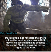 There's so much potential though 😔 _ hulk theincrediblehulk brucebanner shehulk jenniferwalters markruffalo ironman spidermanhomecoming infinitywar marvel marvelcomics mcu marvelfacts dailygeekfacts: DailyGeekFacts  Mark Ruffalo has revealed that there  will not be another standalone Hulk  movie. He says that this is because  Universal Studios owns the movie  rights to the Hulk. There's so much potential though 😔 _ hulk theincrediblehulk brucebanner shehulk jenniferwalters markruffalo ironman spidermanhomecoming infinitywar marvel marvelcomics mcu marvelfacts dailygeekfacts
