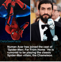 I can totally see him as Chameleon and I honestly can't wait! I've been hoping for the Chameleon to make an MCU appearance since was Spidey was announced for the MCU. _ spiderman peterparker theamazingspiderman thechameleon dmitrismerdyakov mysterio tomholland numanacar marvel mcu marvelcomics marvelfacts dailygeekfacts: DailyGeekFacts  Numan Acar has joined the cast of  Spider-Man: Far From Home.' He is  rumored to be playing the clasSic  Spider-Man villain, the Chameleon I can totally see him as Chameleon and I honestly can't wait! I've been hoping for the Chameleon to make an MCU appearance since was Spidey was announced for the MCU. _ spiderman peterparker theamazingspiderman thechameleon dmitrismerdyakov mysterio tomholland numanacar marvel mcu marvelcomics marvelfacts dailygeekfacts