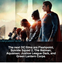 Batman, Hype, and Memes: DailyGeekFacts  The next DC films are Flashpoint,  Suicide Squad 2, The Batman,  Aquaman, Justice League Dark, and  Green Lantern Corps The hype is real!!! _ batman aquaman superman theflash wonderwoman superman greenlantern cyborg flashpoint suicidesquad2 justiceleaguedark greenlanterncorps dc dceu dccomics dcfacts dailygeekfacts