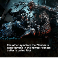 Are you hyped for the Venom movie? _ venom carnage toxin scream riot agony symbiote eddiebrock carltondrake tomhardy rizahmed spiderman marvel marvelcomics marvelfacts dailygeekfacts: DailyGeekFacts  The other symbiote that Venom is  seen fighting in the newest Venom  trailer is called Riot. Are you hyped for the Venom movie? _ venom carnage toxin scream riot agony symbiote eddiebrock carltondrake tomhardy rizahmed spiderman marvel marvelcomics marvelfacts dailygeekfacts
