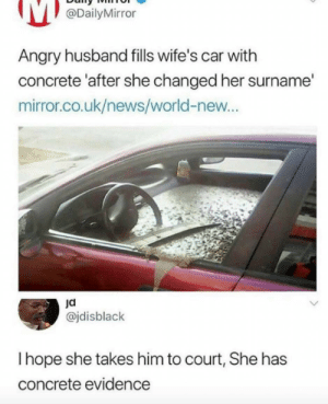 News, Mirror, and World: @DailyMirror  Angry husband fills wife's car with  concrete 'after she changed her surname'  mirror.co.uk/news/world-new...  @jdisblack  I hope she takes him to court, She has  concrete evidence