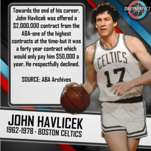 1782f9277 DAILYNBAFACT Towards the End of His Career John Havlicek Was Offered a  S2000000 Contract From the ABA-one of the Highest Contracts at the Time-But  It Was a ...