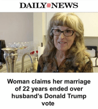 "Memes, Nydailynews, and Reuters: DAILYS NEWS  Woman claims her marriage  of 22 years ended over  husband's Donald Trump  vote ""One woman says President Trump made her single again. A retiree in Washington State told Reuters she called it quits with her husband of 22 years because he voted for Trump — something she saw as a ""deal breaker."" ""It totally undid me that he could vote for Trump,"" said GayleMcCormick, 73, a retired California prison guard who called herself a ""Democrat leaning toward socialist."" ""It opened up areas between us I had not faced before,"" she said."" 👀🤔 (@nydailynews) WSHH"