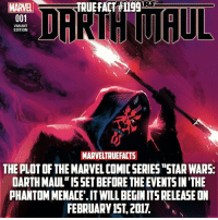 "Pretty excited about this series! Darth Maul was a cool villain that didn't have enough screen time. 👏🏻 and yes this is canon.: DAKTHTMAUL  MARVEL  001  VARIANT  EDITION  MARVELTRUEFACTS  THEPLOTOF THE MARVELCOMICSERIES ""STAR WARS:  DARTH MAUL""ISSETBEFORE THE EVENTSIN'THE  PHANTOM MENACE"".ITWILLBEGINITSRELEASEON  FEBRUARY 15T 2011. Pretty excited about this series! Darth Maul was a cool villain that didn't have enough screen time. 👏🏻 and yes this is canon."