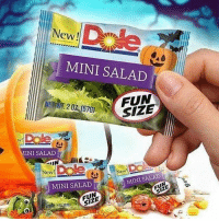 Halloween, Memes, and Wshh: Dale  New!  MINI SALAD  NEWT. 20Z (570)  SIZE  INI SALAD  IN  New  MINI SALAD  MINI SALAD  FUN  SIZE  SIZE  20 What would y'all do if you got this mini salad while trick or treating? Comment below! 👇🥗🤔 Halloween WSHH