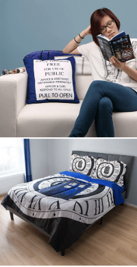 Advice, Cars, and Doctor: DALEK  LONT  FREE  FOR USE OF  PUBLIC  ADVICE & ASSISTANCE  OBTAINABLE IMMEDIATELY  OFFICER & CARS  RESPOND TO ALL CALLS  PULL TO OPEN novelty-gift-ideas:  Doctor Who Comforter  TARDIS Pillow