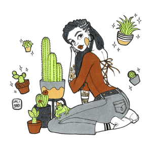 Fail, Tumblr, and American: DALI  ppB  0 tarastheory:  inktober 2018 | modern witchesNikki / Hidalgo, New Mexico / familiar: mexican tree frogdescent: African Americanabilities:her green thumb makes for an amazing herbalist and her blessings will never fail youoccupation: plant shop owner, the back room is used to make and sell magical balms (if you know how to ask)