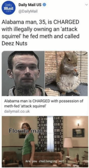 : Dalily  Daily Mail US  Mail@DailyMail  com  Alabama man, 35, is CHARGED  with illegally owning an 'attack  squirrel' he fed meth and called  Deez Nuts  Alabama man is CHARGED with possession of  meth-fed 'attack squirrel  dailymail.co.uk  Florida man  Are you challenging me
