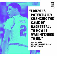 """Lonzo Ball transformed UCLA from afterthought to trendy Final Four pick in one season. BRmag (link in bio): DALL  b/r  MAG  """"LONZO IS  POTENTIALLY  CHANGING THE  GAME OF  BASKETBALL  TO HOW IT  WAS INTENDED  TO BE.""""  STEVE BAIK  FORMER CHINO HILLS  HEAD COACH Lonzo Ball transformed UCLA from afterthought to trendy Final Four pick in one season. BRmag (link in bio)"""