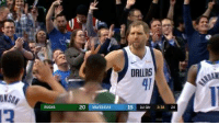 Dallas, Dirk, and Both: DALLAS  41  NSON  20 MAVERSCKS  19 1st Qt 3:38 24 Dirk dominating on both ends of the floor 🔥